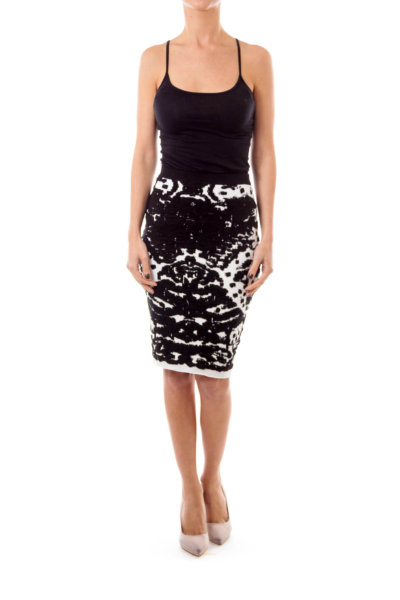 Black & White Knit Pencil Skirt