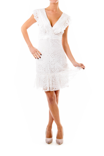 White Frill Empire Dress