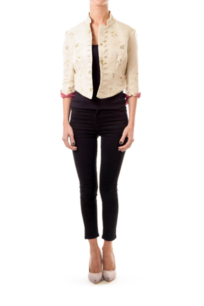 Beige Embroidered Cropped Jacket