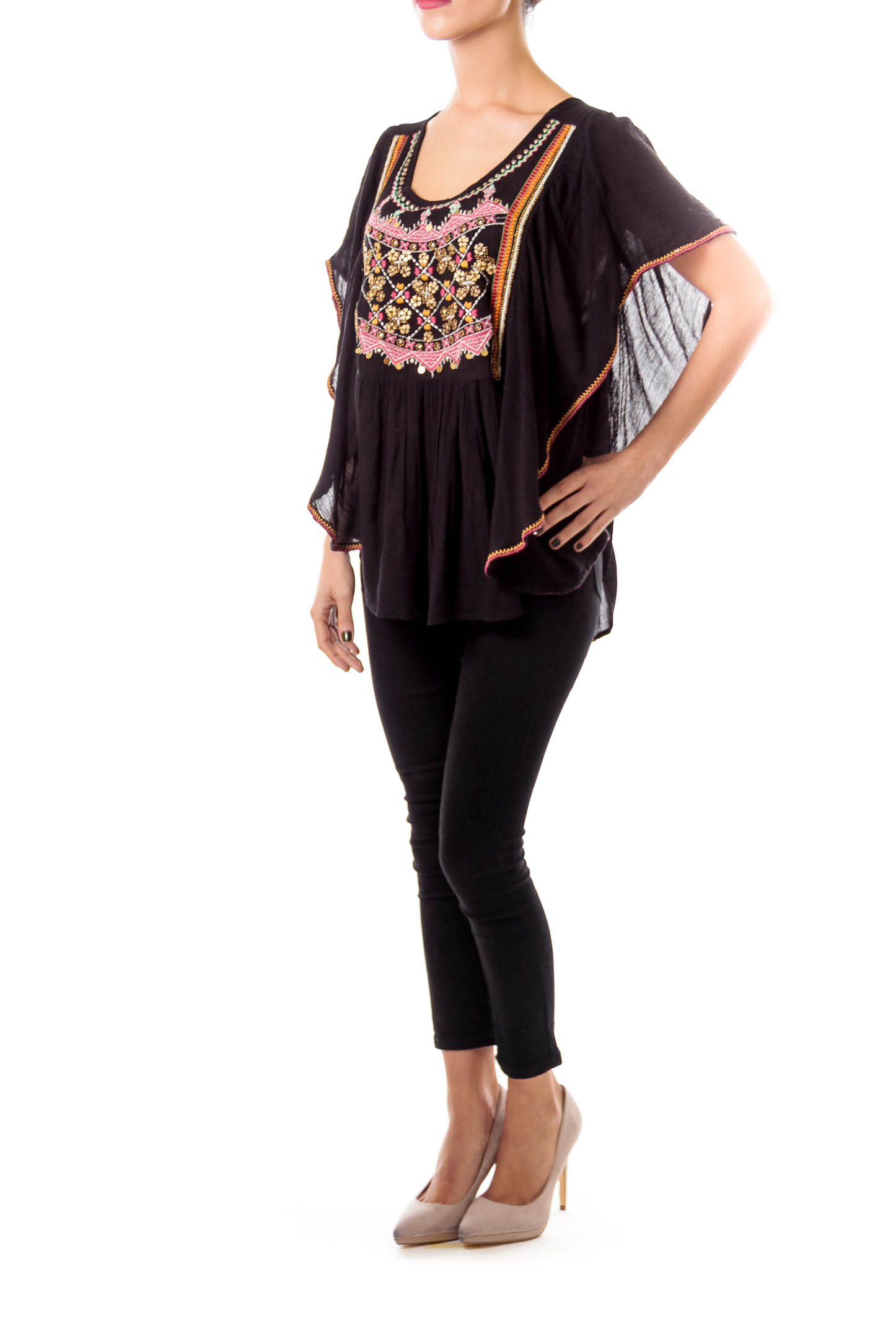 Black Embroidered Bat Sleeve Top