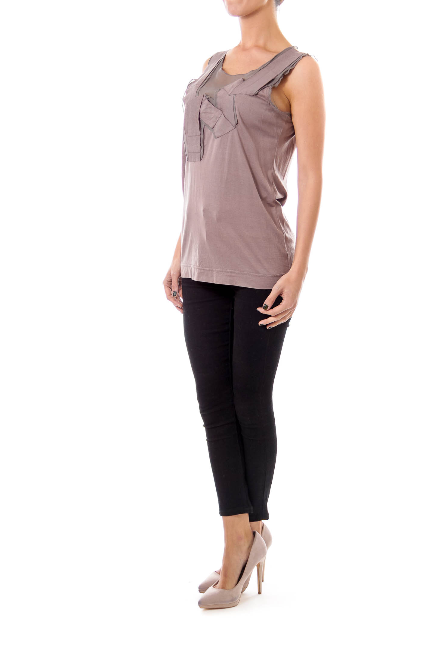Brown and Taupe Layered Top