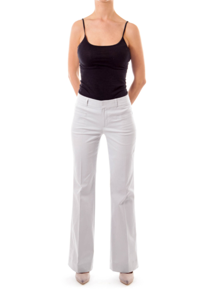 Light Gray Low Rise Straight Leg Trousers