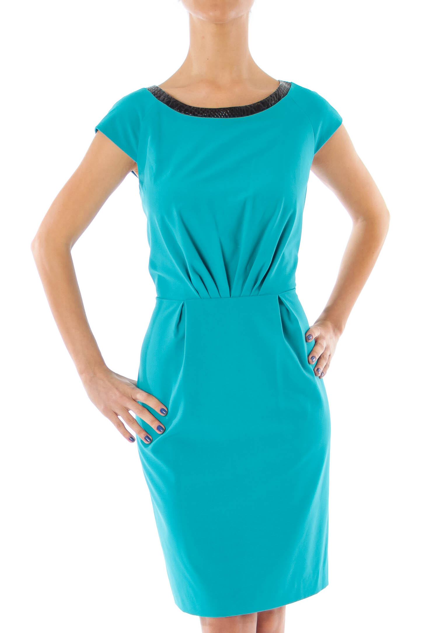 26a08699a0e1fa Shop Turquoise Leather Trim Sheath Dress clothing and handbags at ...