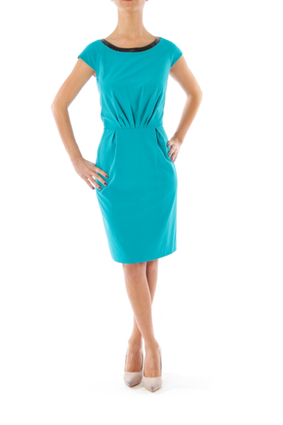 Turquoise Leather Trim Sheath Dress