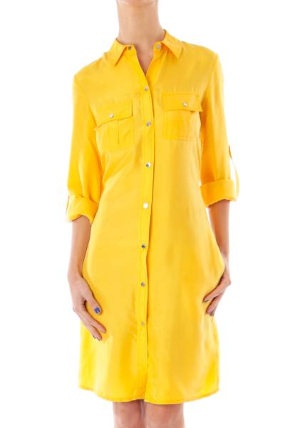 Yellow Silk Shirt Dress