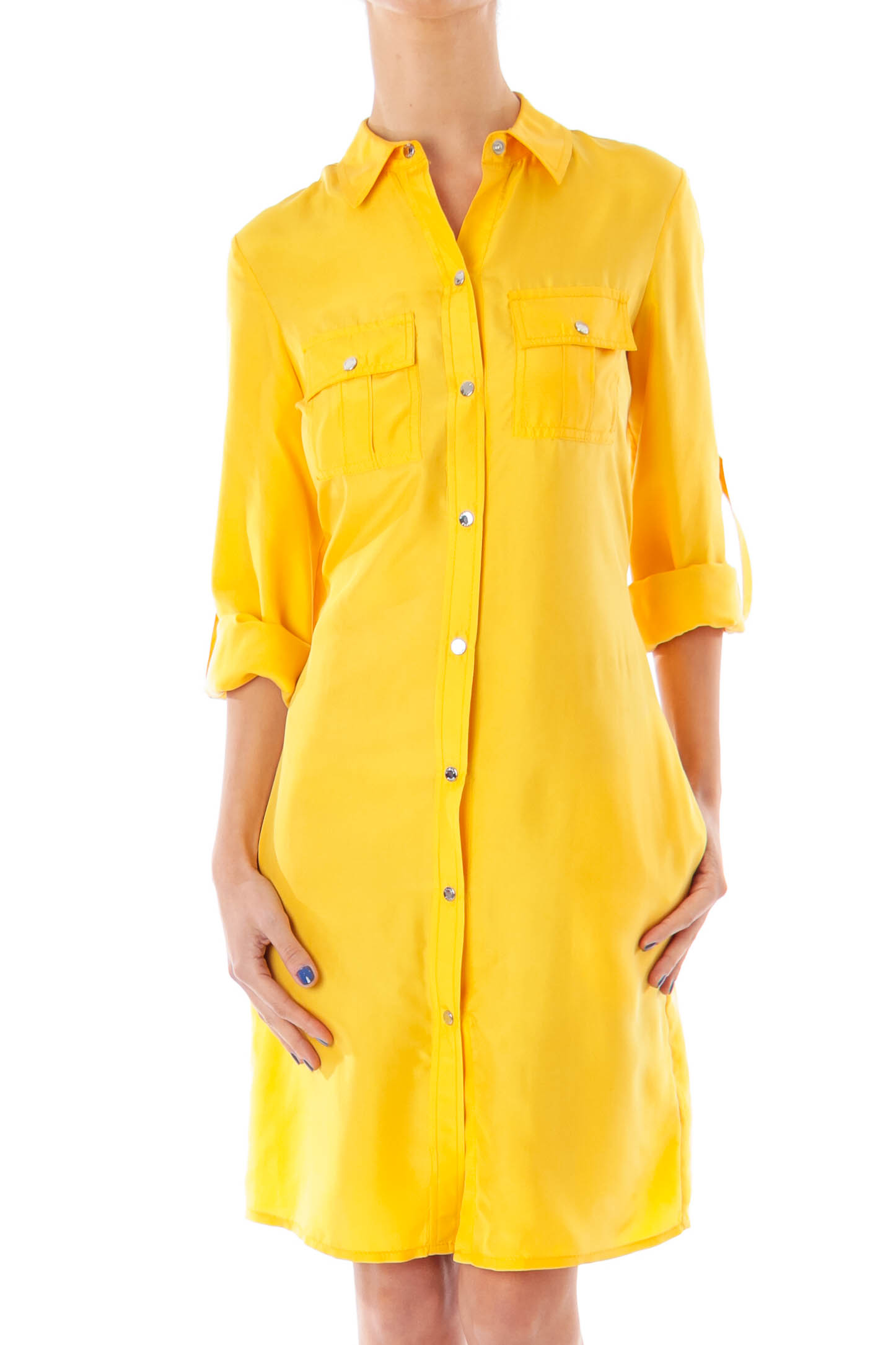 Yellow Silk Shirt Dress Xs Silkroll