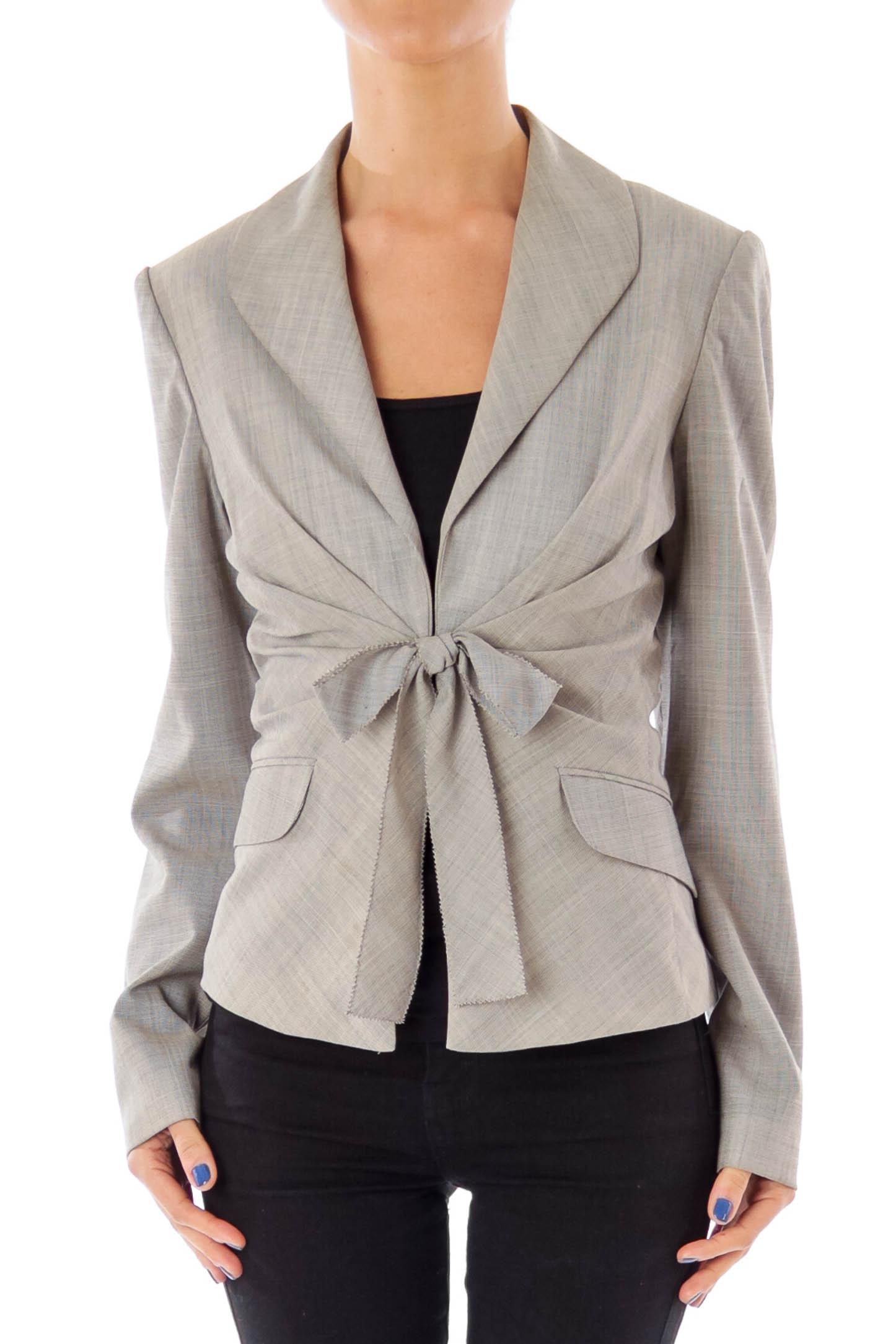 Gray Ribbon Detailed Blazer