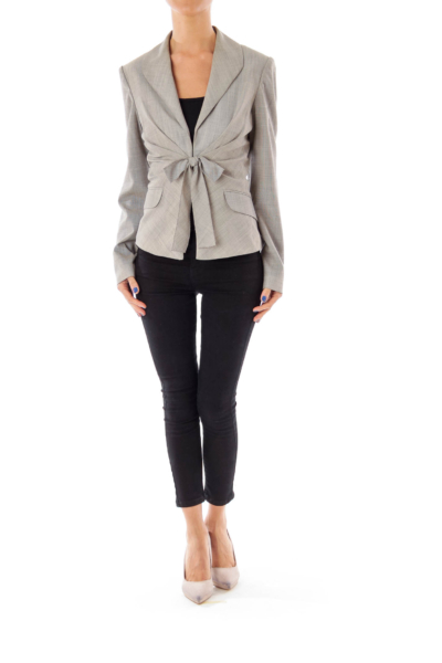 Gray Ribbon Detailed Blazer