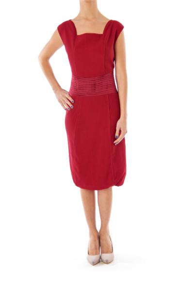 Maroon Pleat Detail Dress