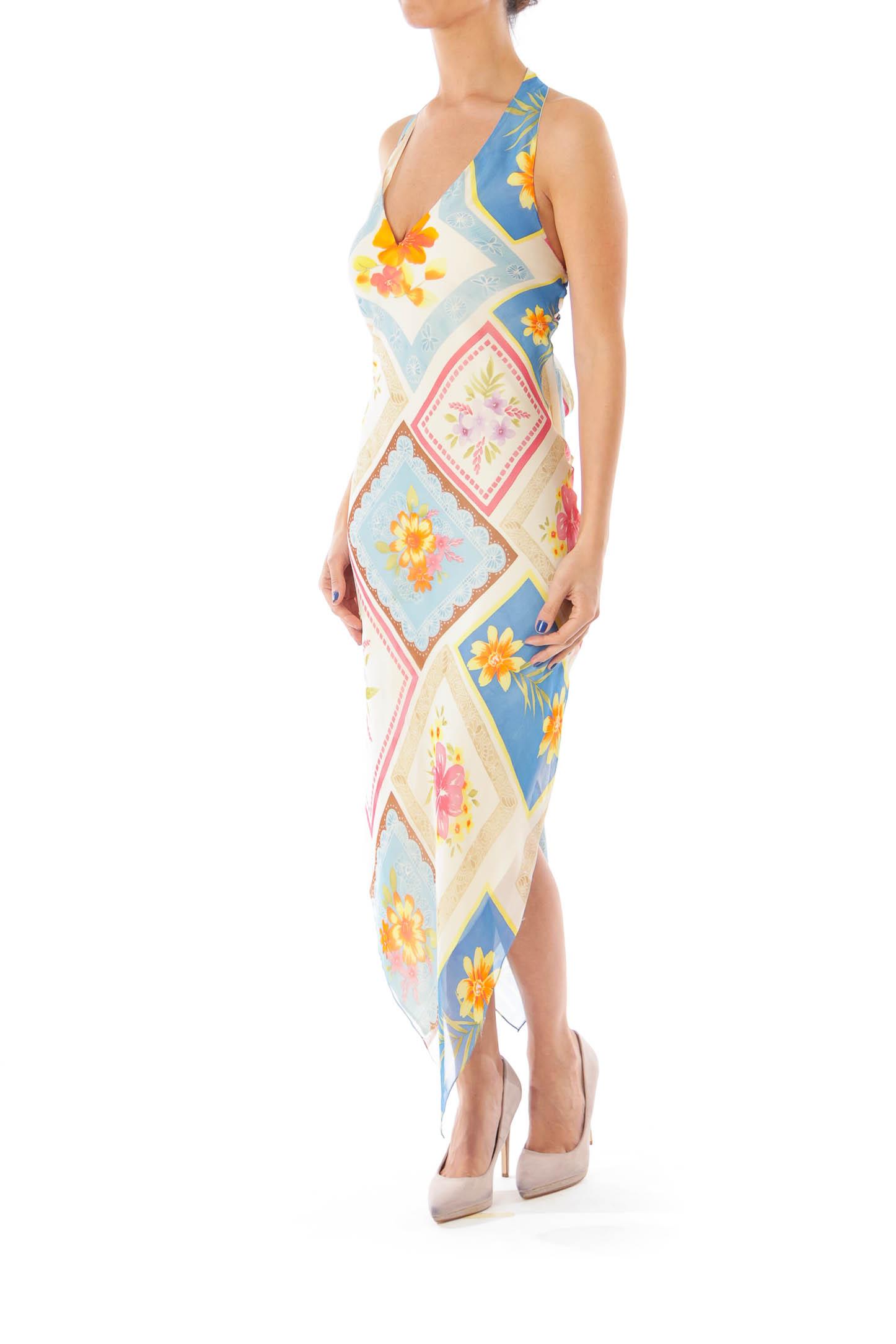 Beige Flower Print Halter Dress