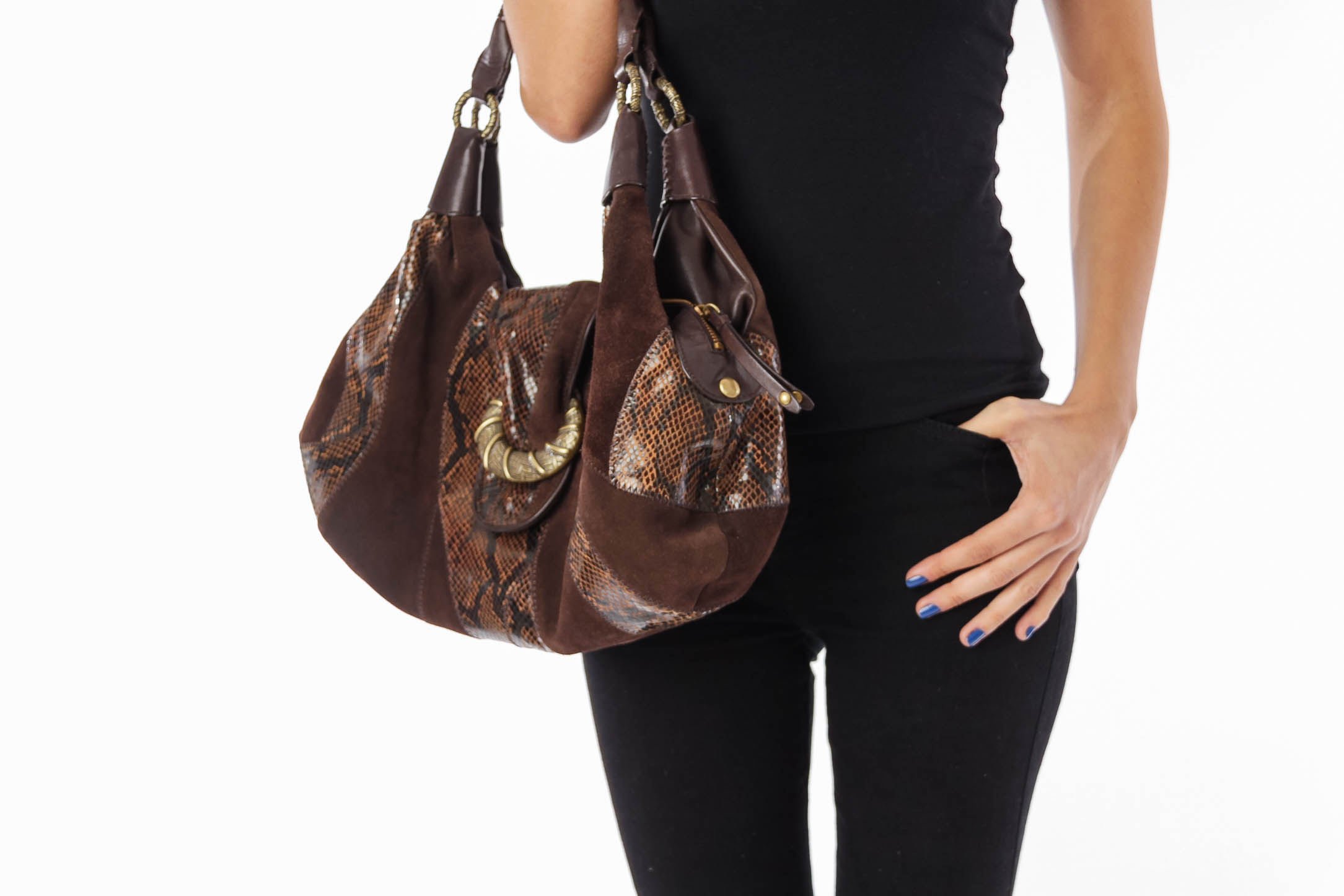 Brown Suede & Snake Leather Patch Bag