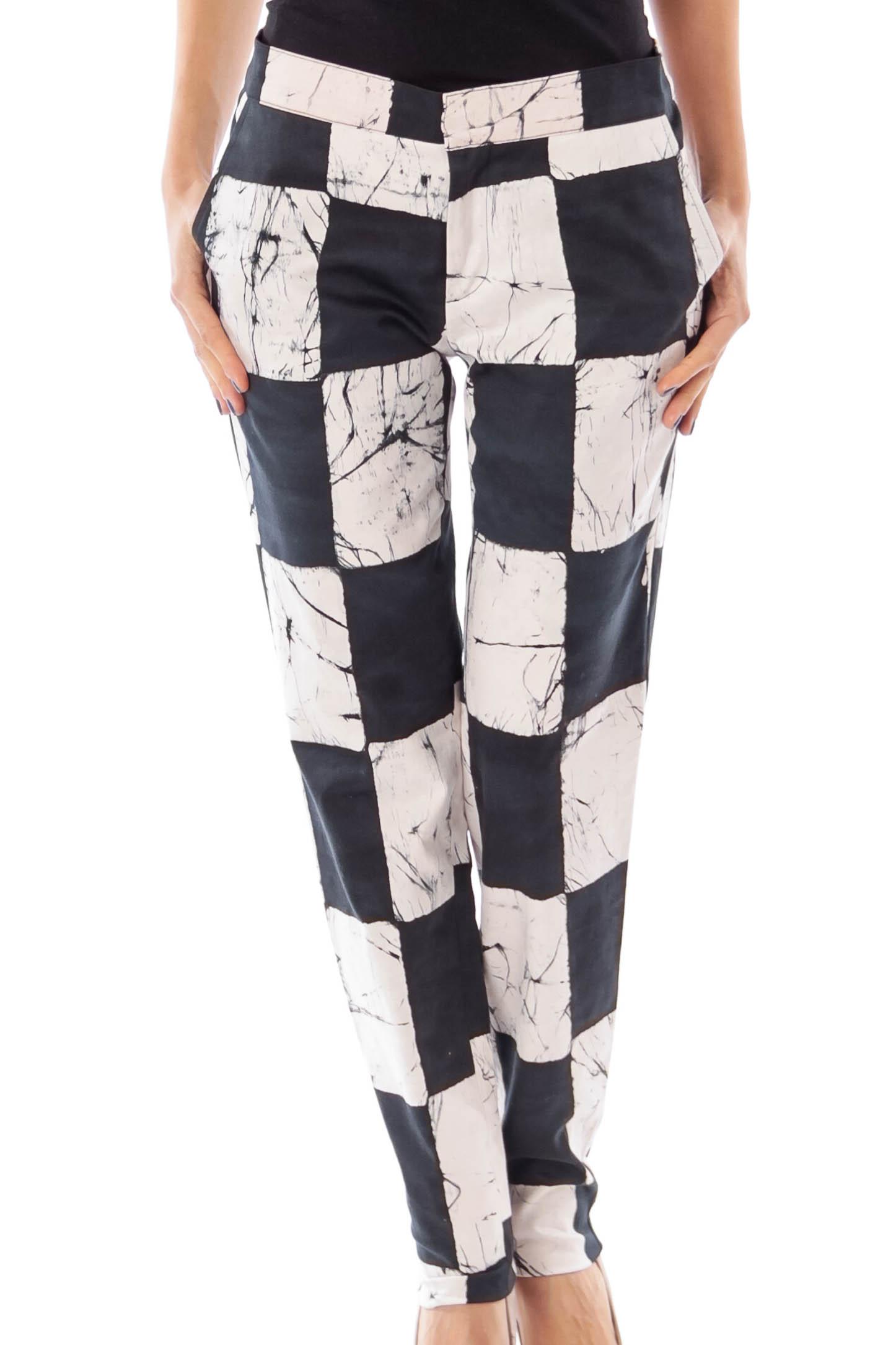Black & White Block Skinny Pants