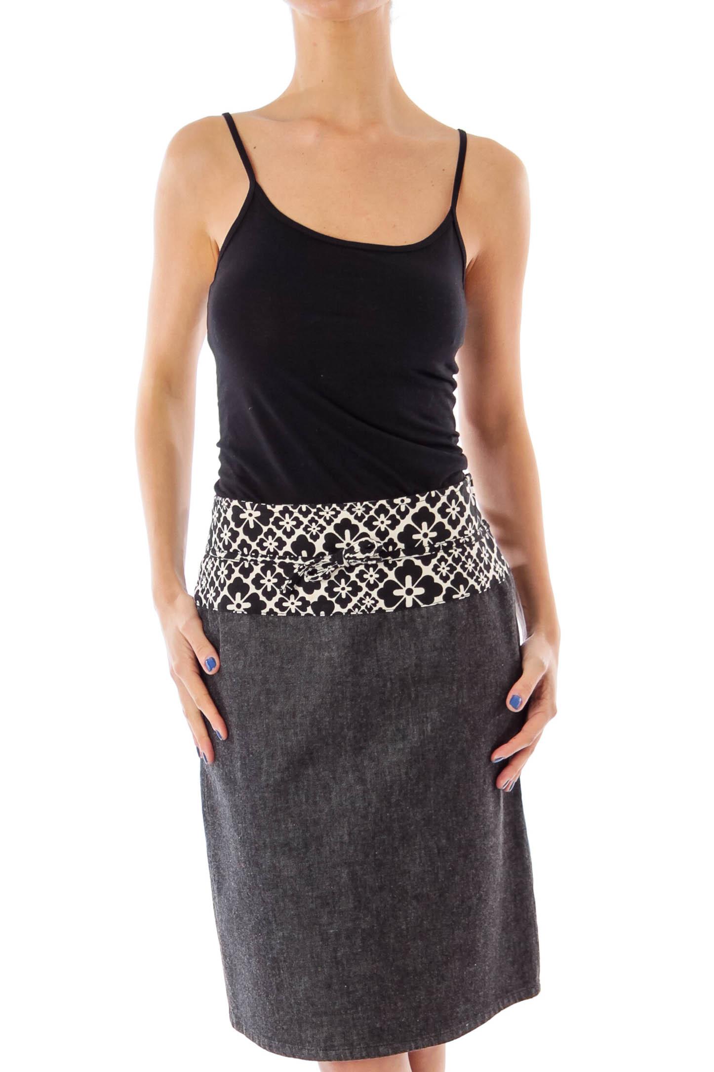 Gray Denim Flower Printed Pencil Skirt