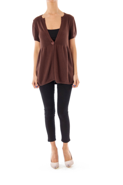 Brown One Button Cardigan