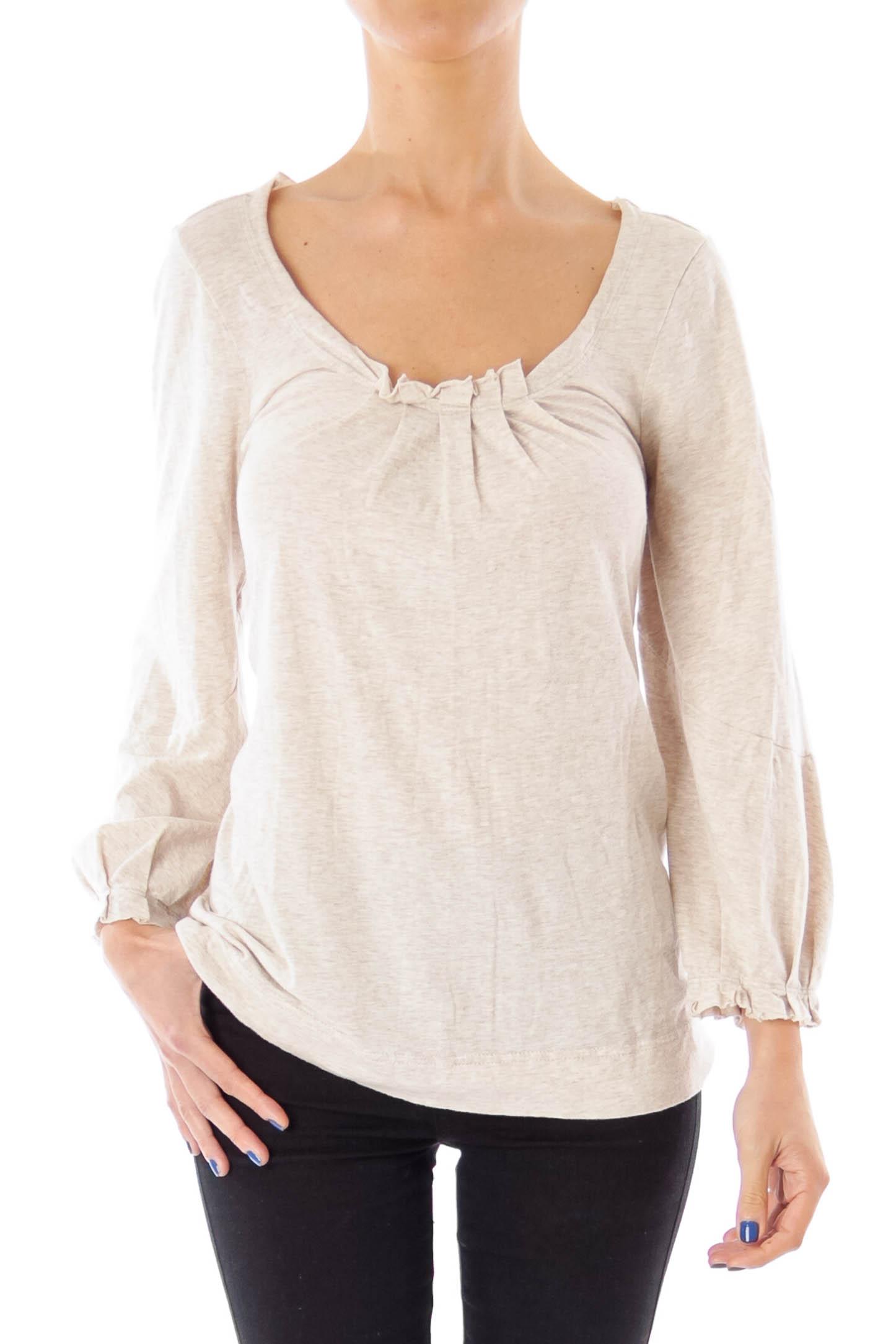 Beige Round Neck Cotton Top