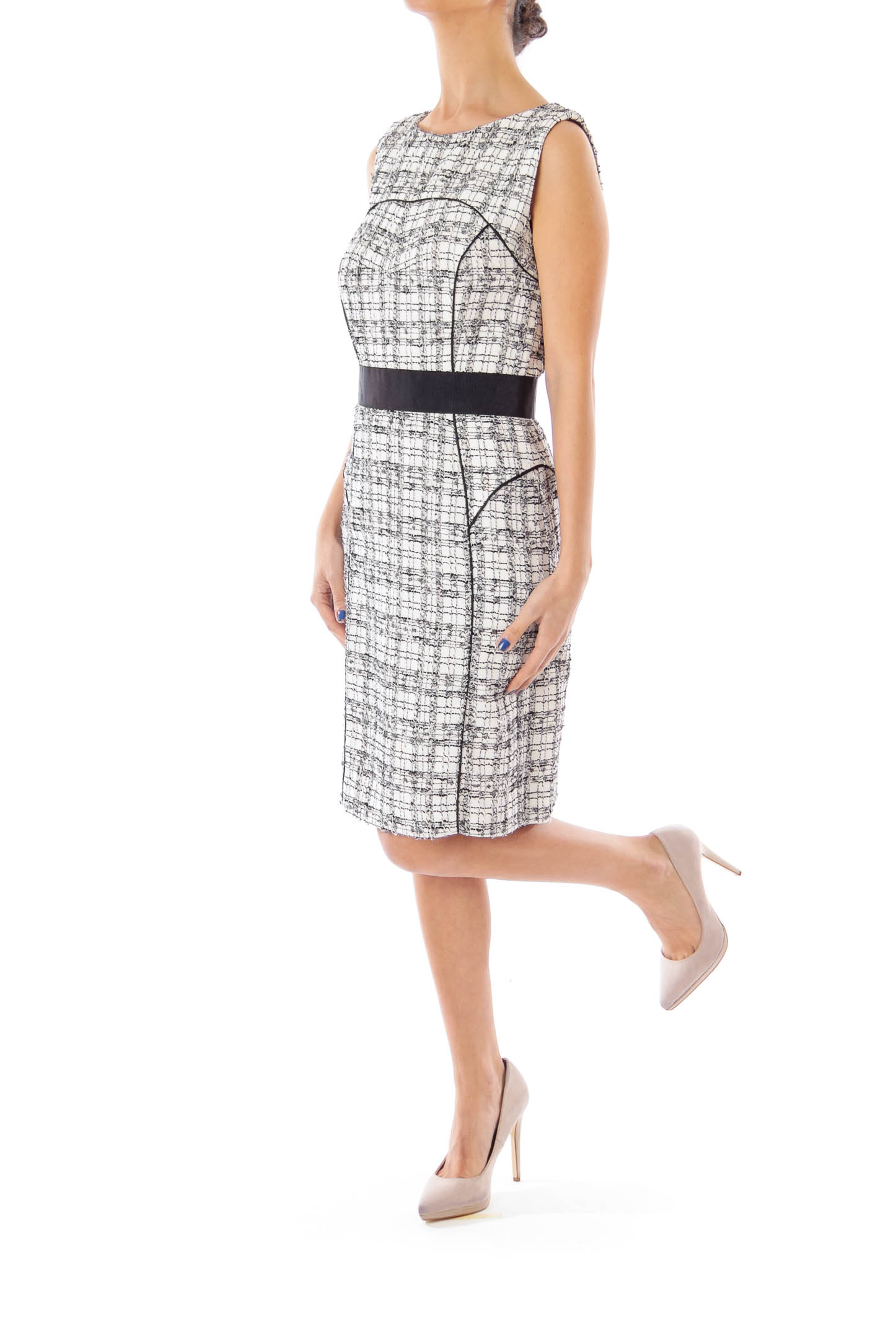 Black & White Check Sheath Dress
