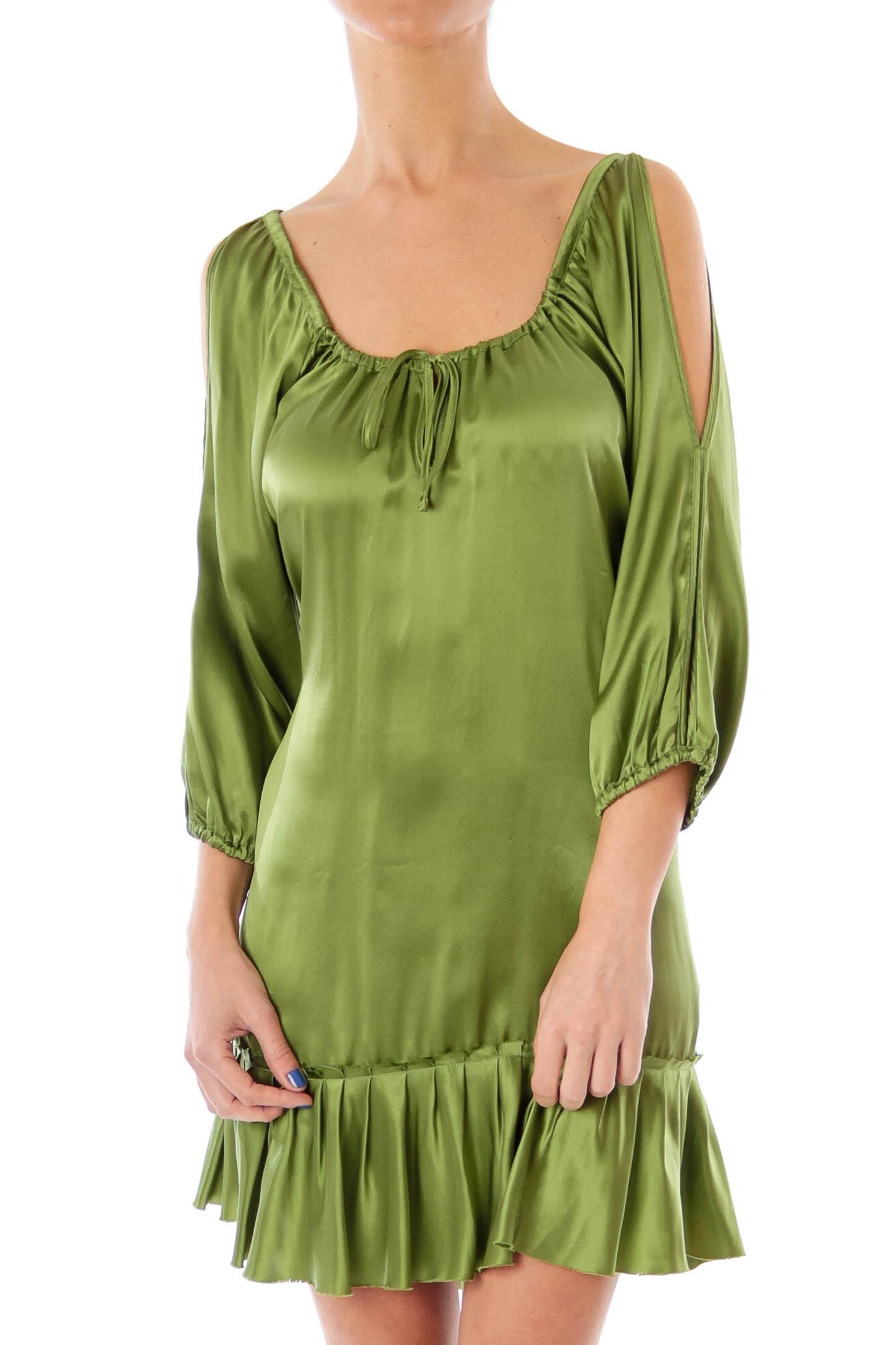 Green Silk Cold Shoulder Dress