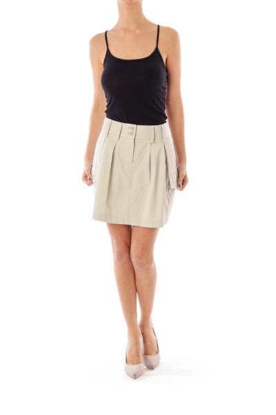 Beige Pocket Mini Skirt