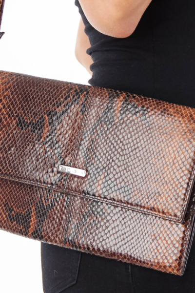 Brown Snake Leather Clutch