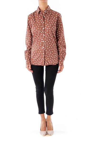 Brown Polka Dot Button Down Shirt