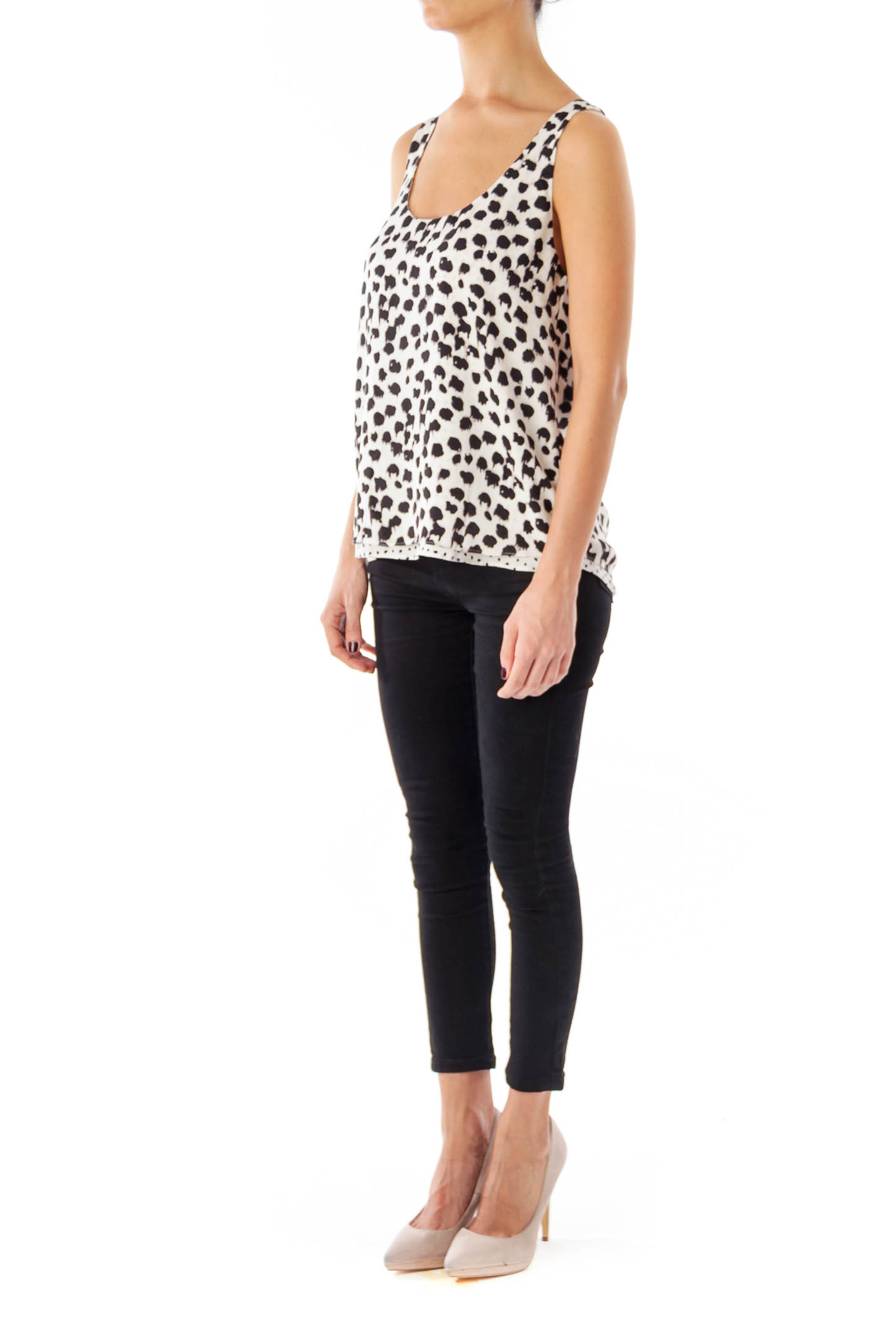 White & Black animal Print Sleeveless top