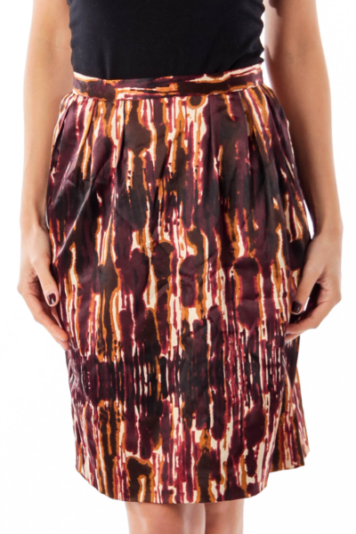 Brown & Red Dye Print Skirt