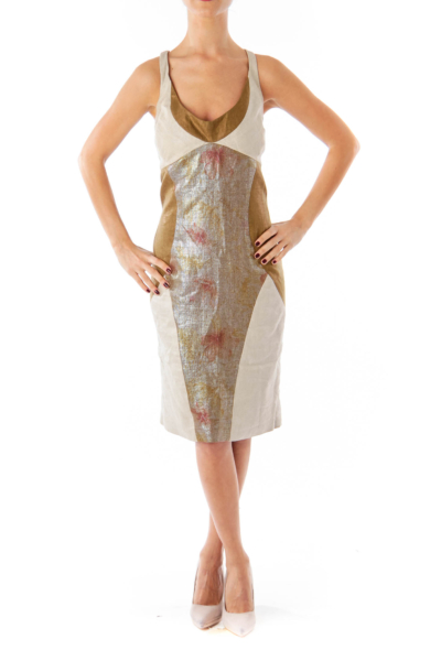 Brown & Beige Metallic Sheath Dress