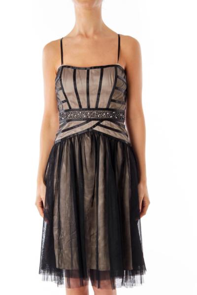 Black Shear Stripe Strapless Dress