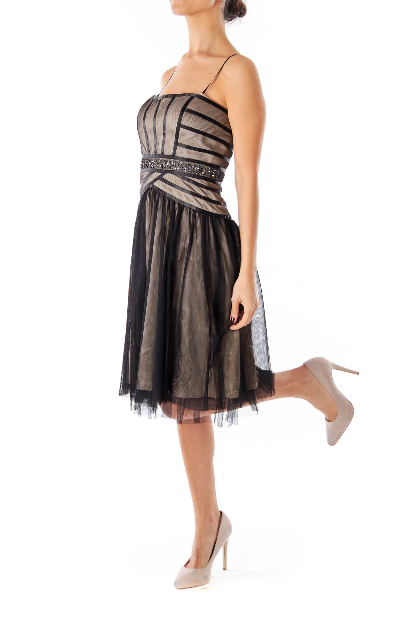Black Shear Stripe Strapless Dress