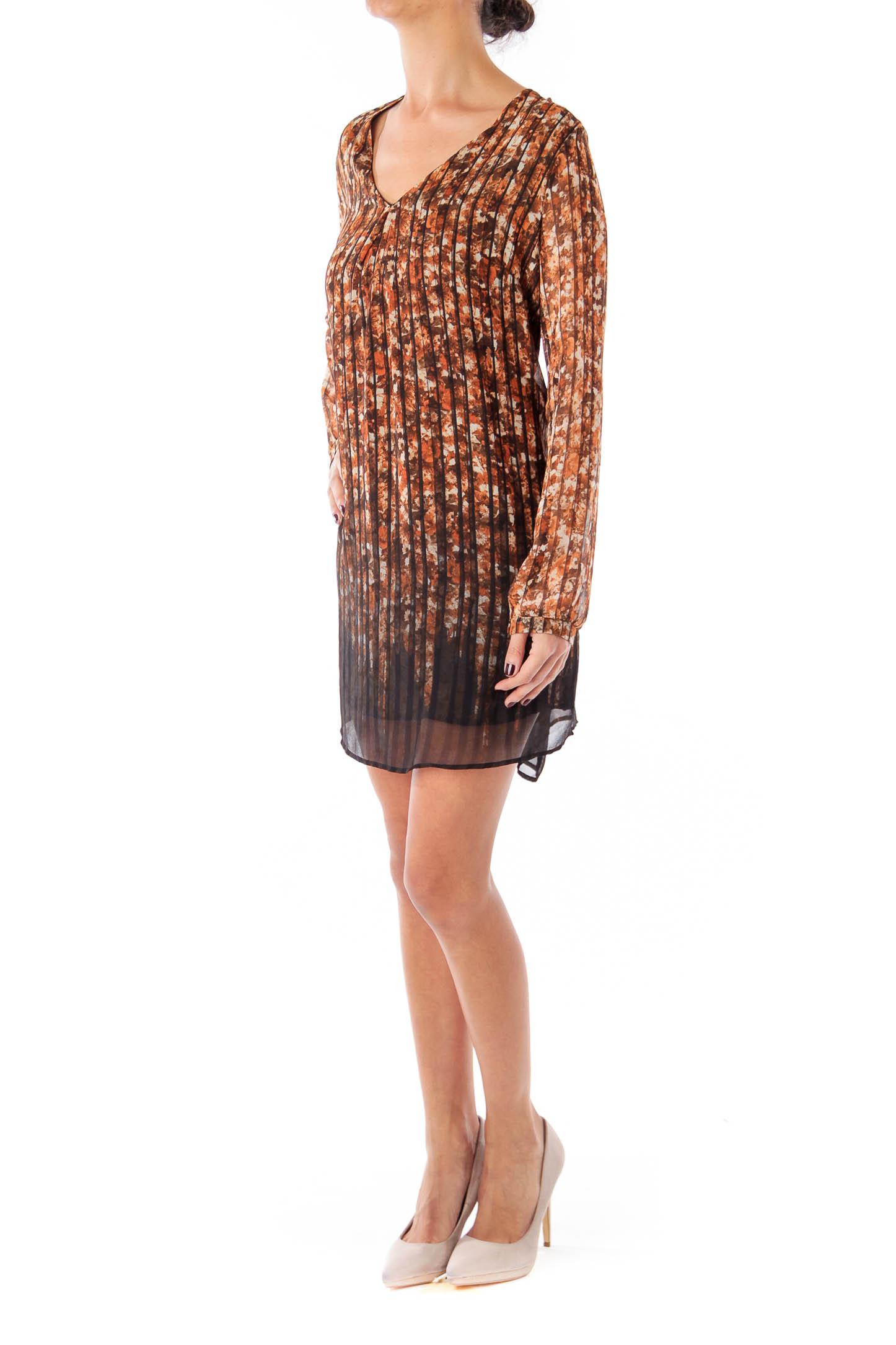 Brown Flower & Stripe V-neck Shift Dress