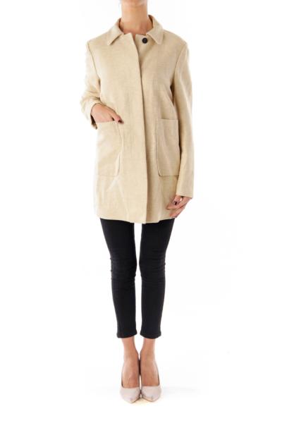 Beige Linen Button Down Coat