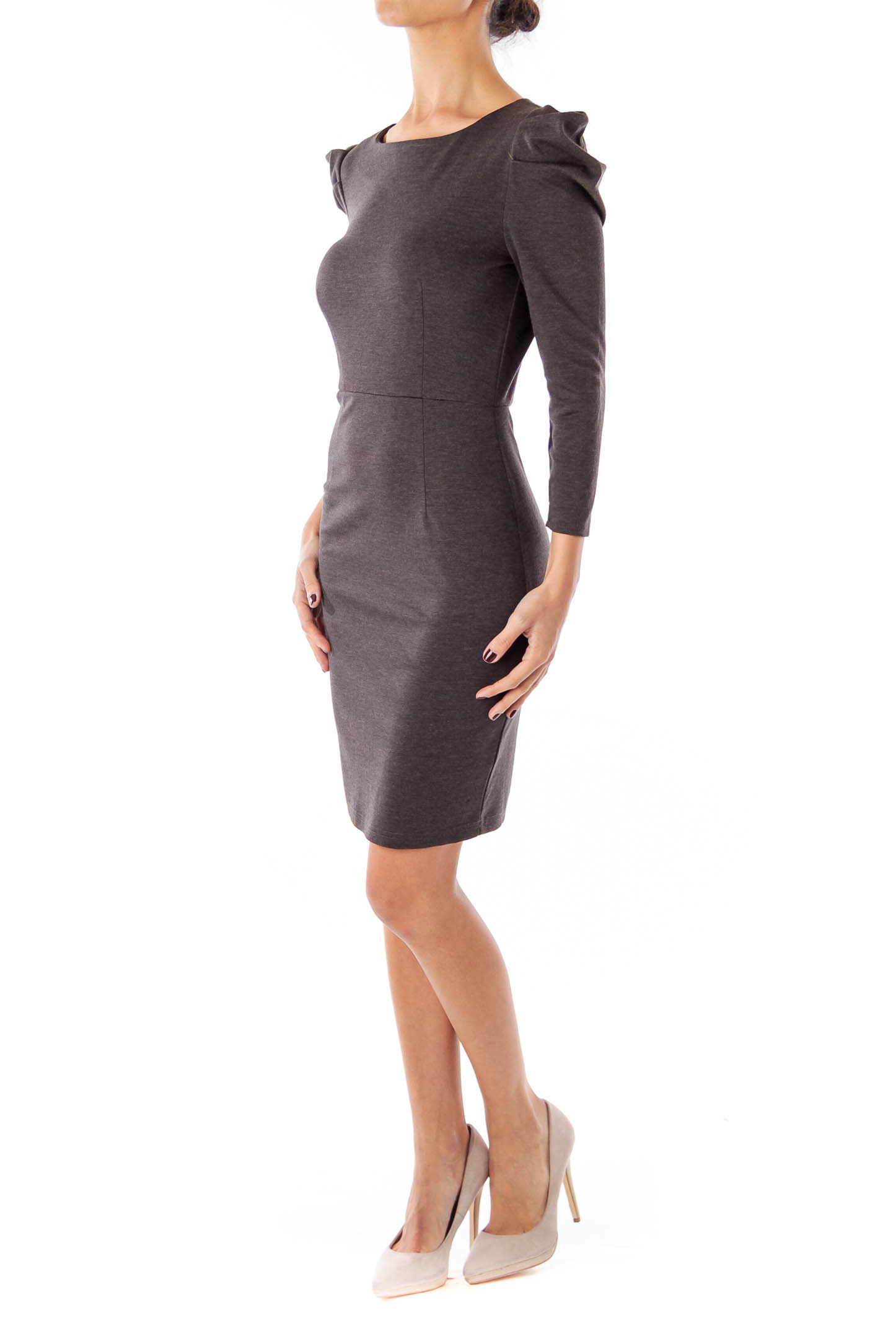 Gray Puffy Sleeve Jersey Dress