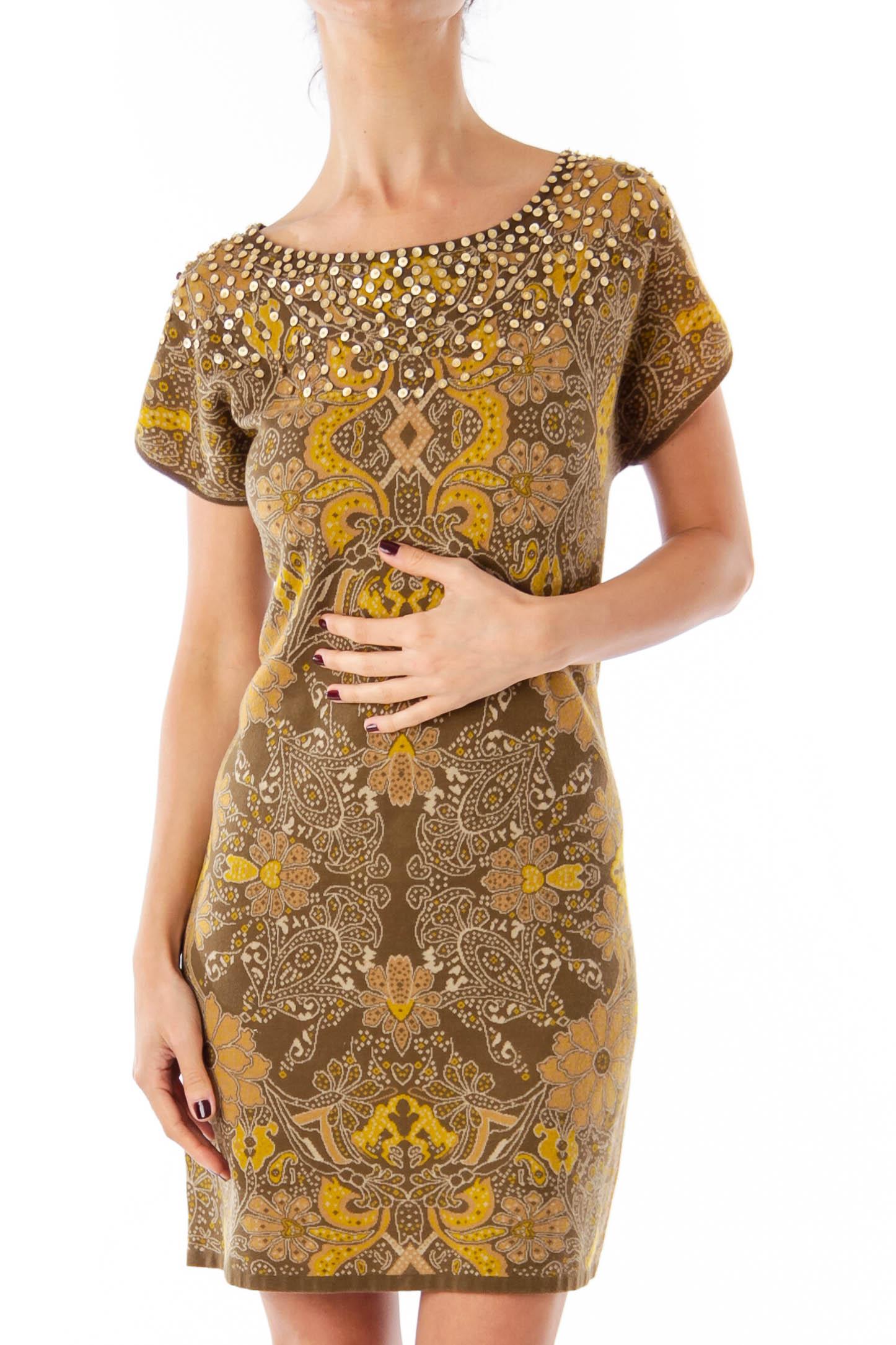Brown Flower Print Knit Dress
