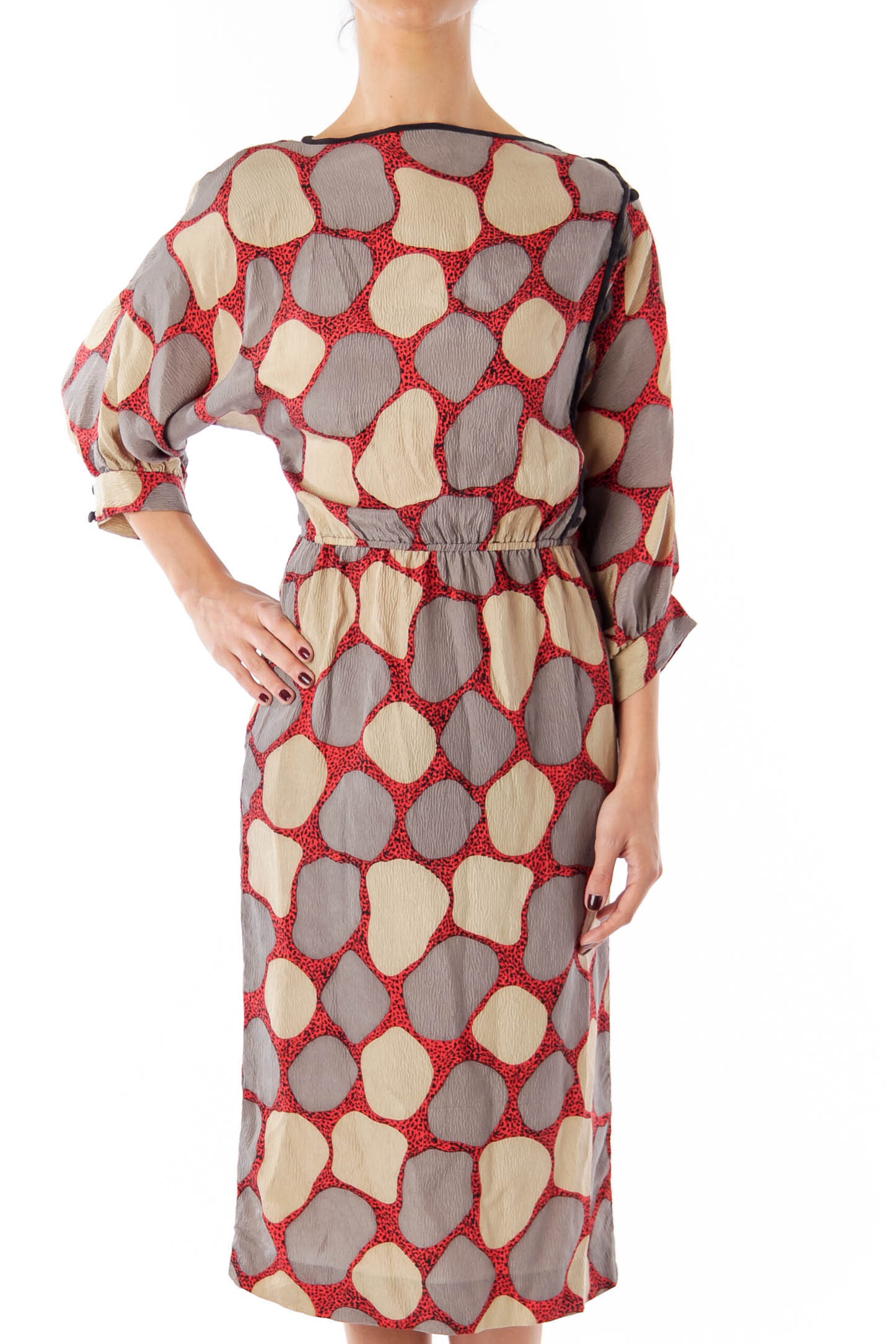 Gray and Red Circle Pattern Dress