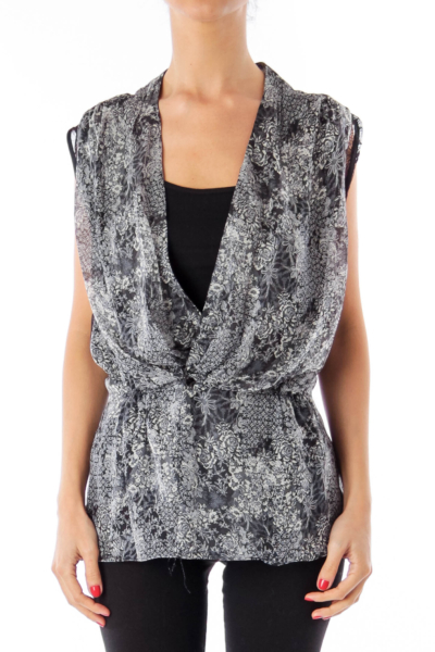 Black & White Flower Printed Vest