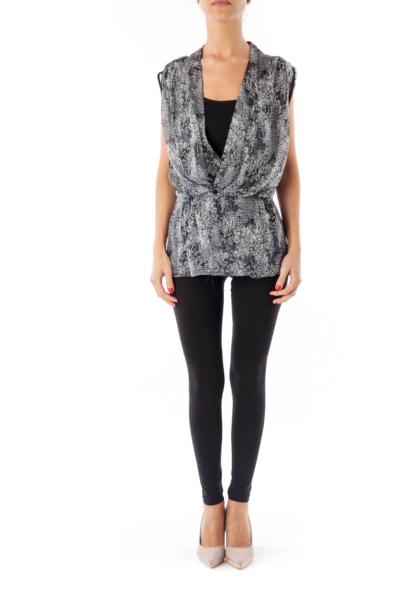 Black & White Flower Printed Vest