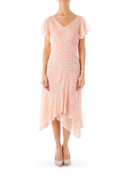 Pink Polka Dot Asymmetric Dress