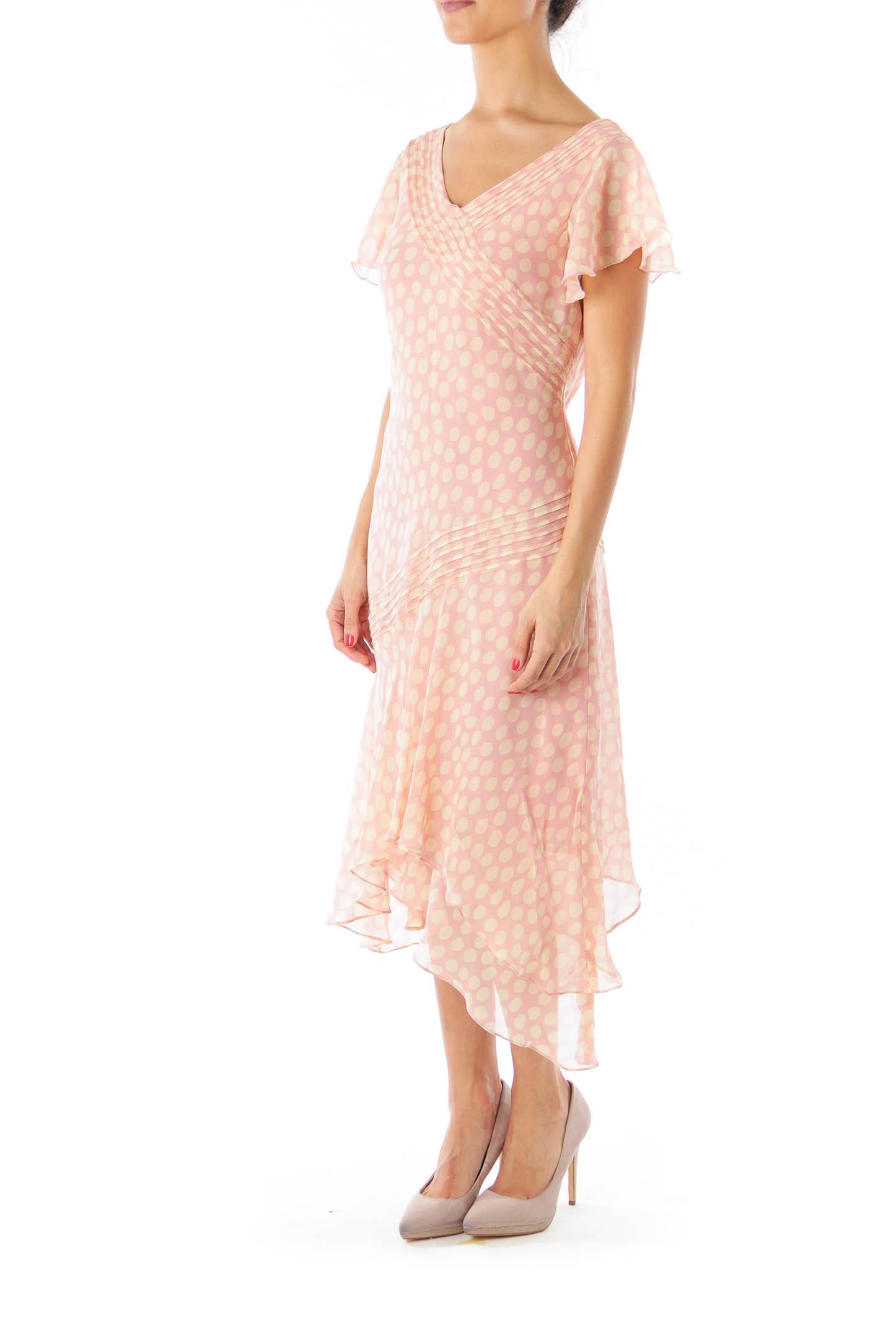 Pink Polka Dot Asymmetric Dress