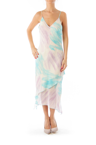 Purple & Baby Blue Spaghetti Strap Maxi Dress