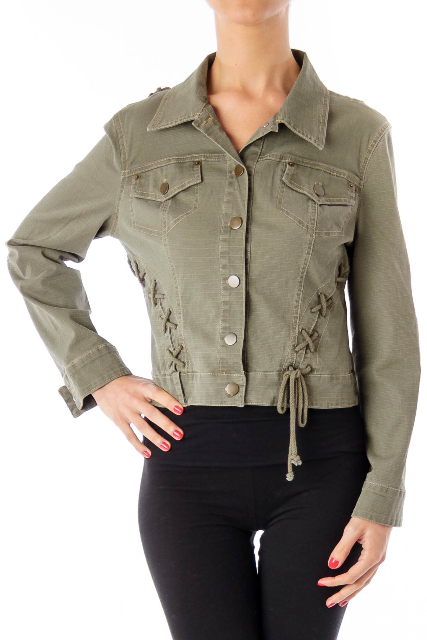 Army Green String Detail Jacket