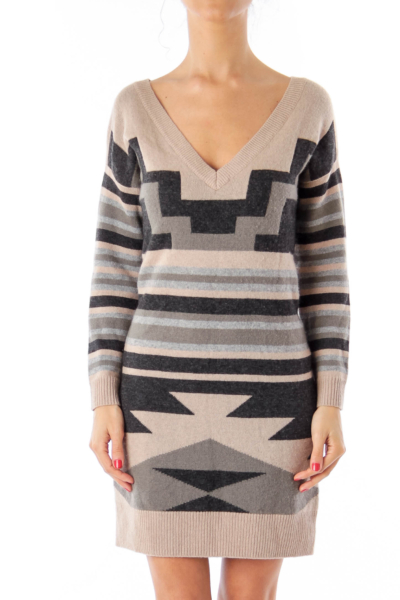Black Brown & Gray Geometric pattern Knit Dress