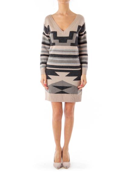 Black Brown & Gray Geometric pattern Knit Dress