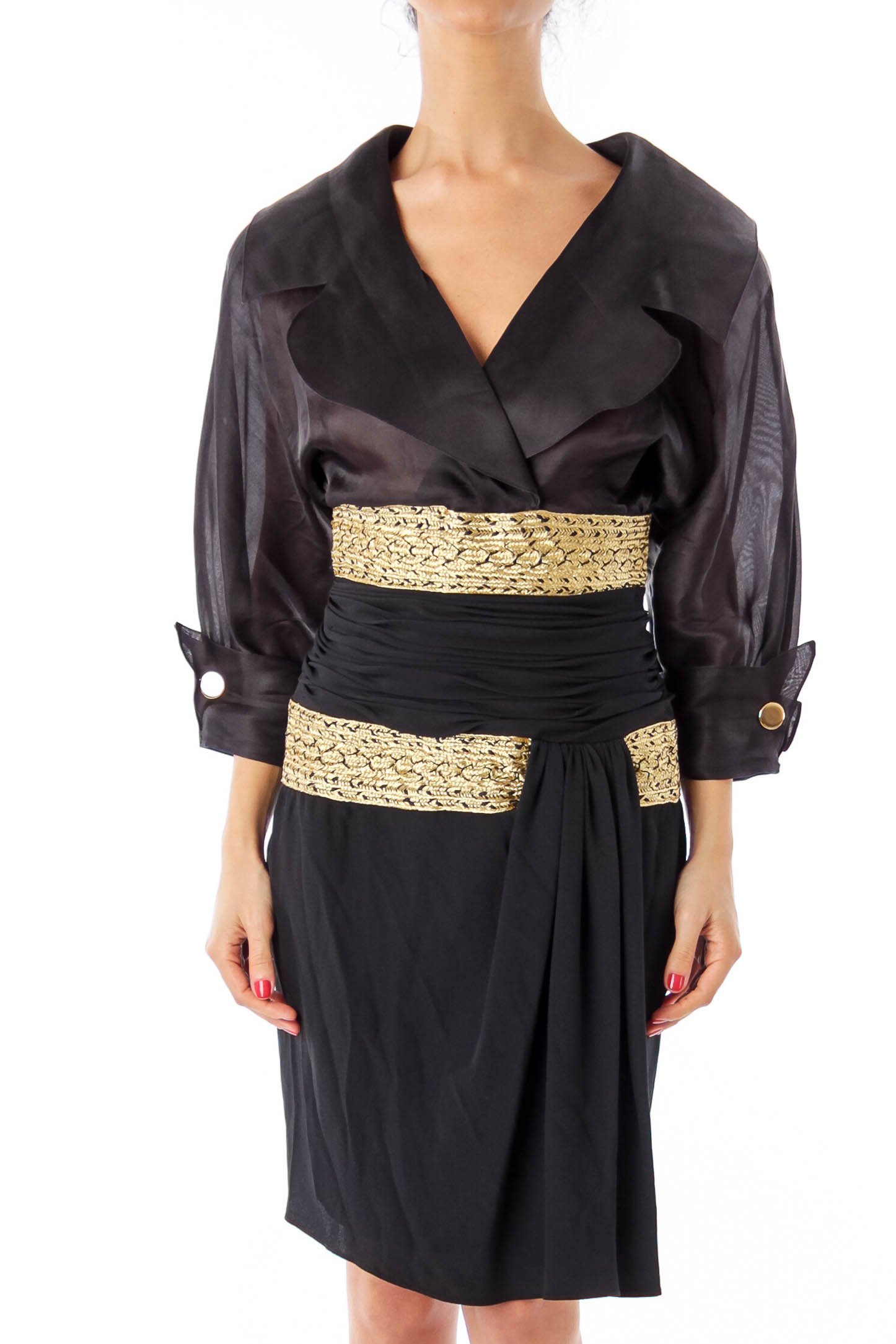 Black & Gold Puff Sleeve Evening Gown