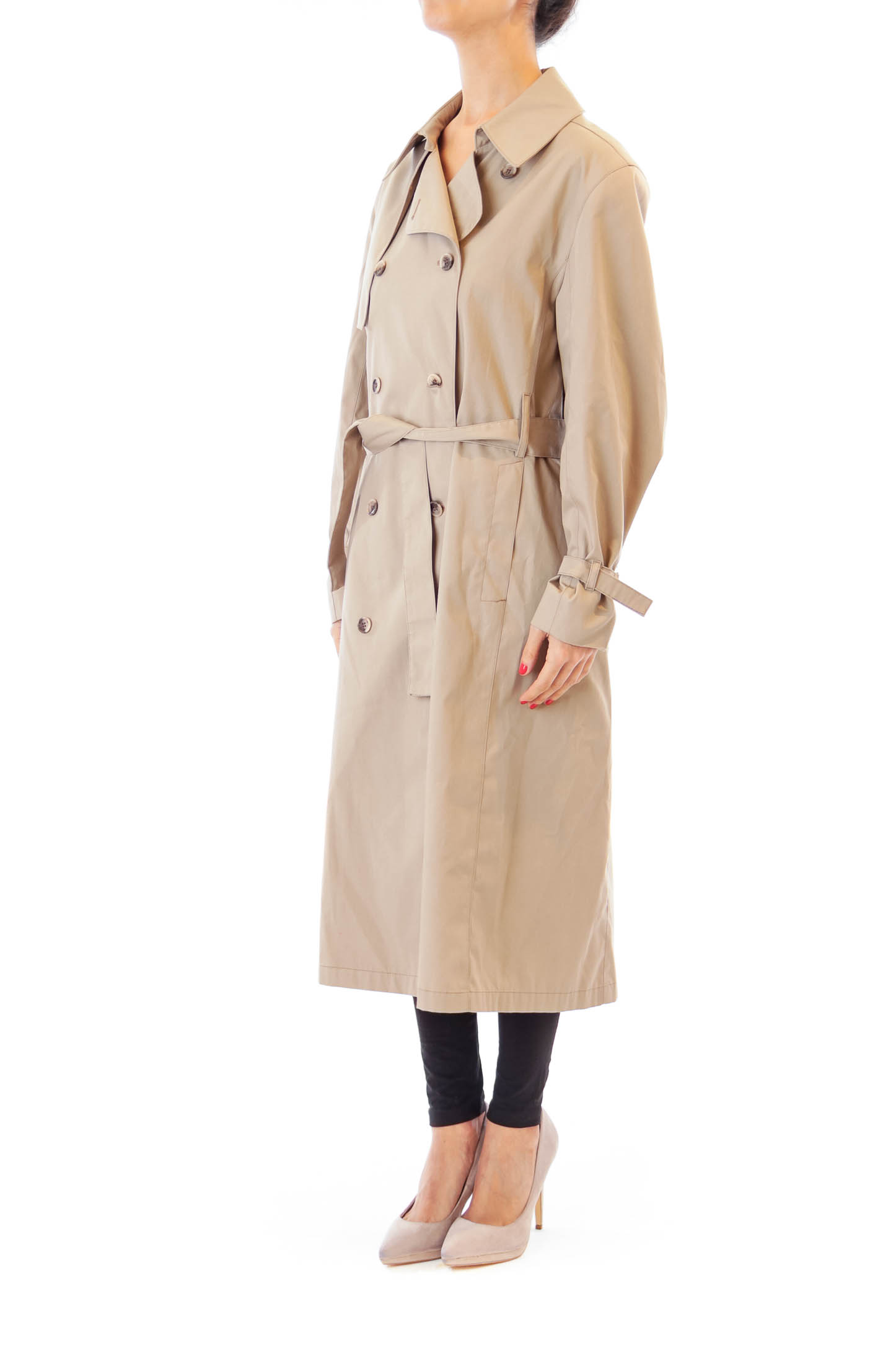 Beige Double Button Trench Coat