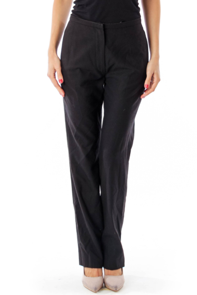 Black Straight Leg Wool Pants