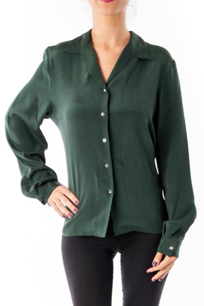 Army Green Silk Shirt