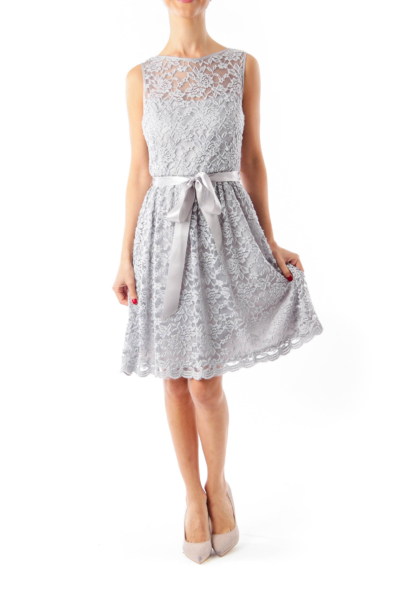 Gray Lace Sleeveless Dress