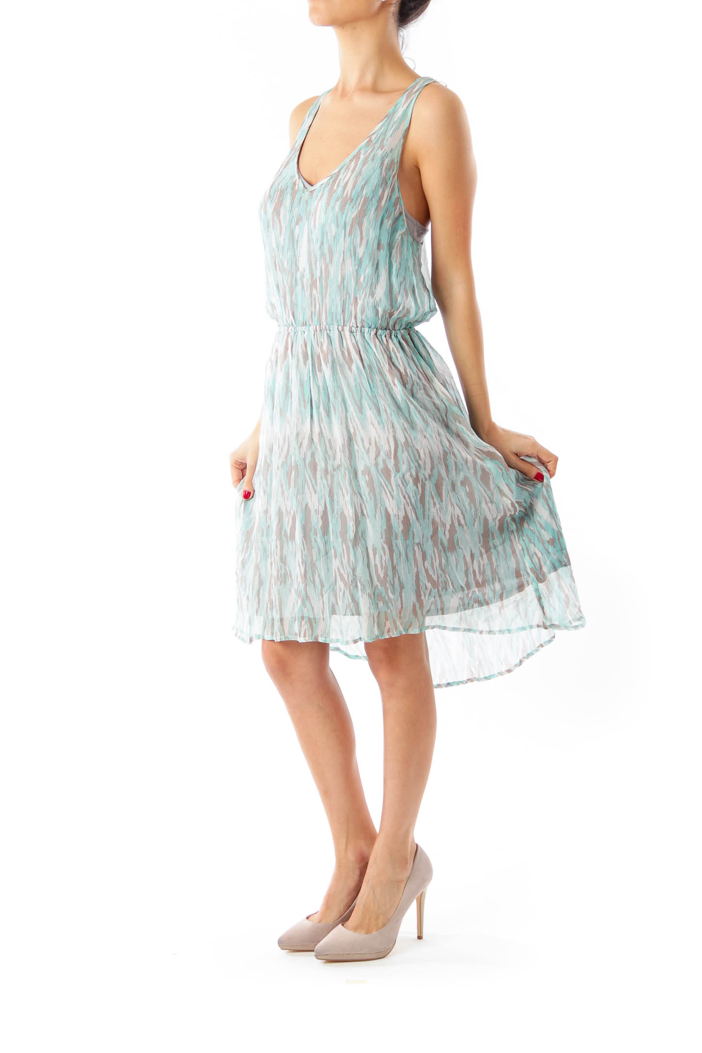 Turquoise Gray Sleeveless Dress