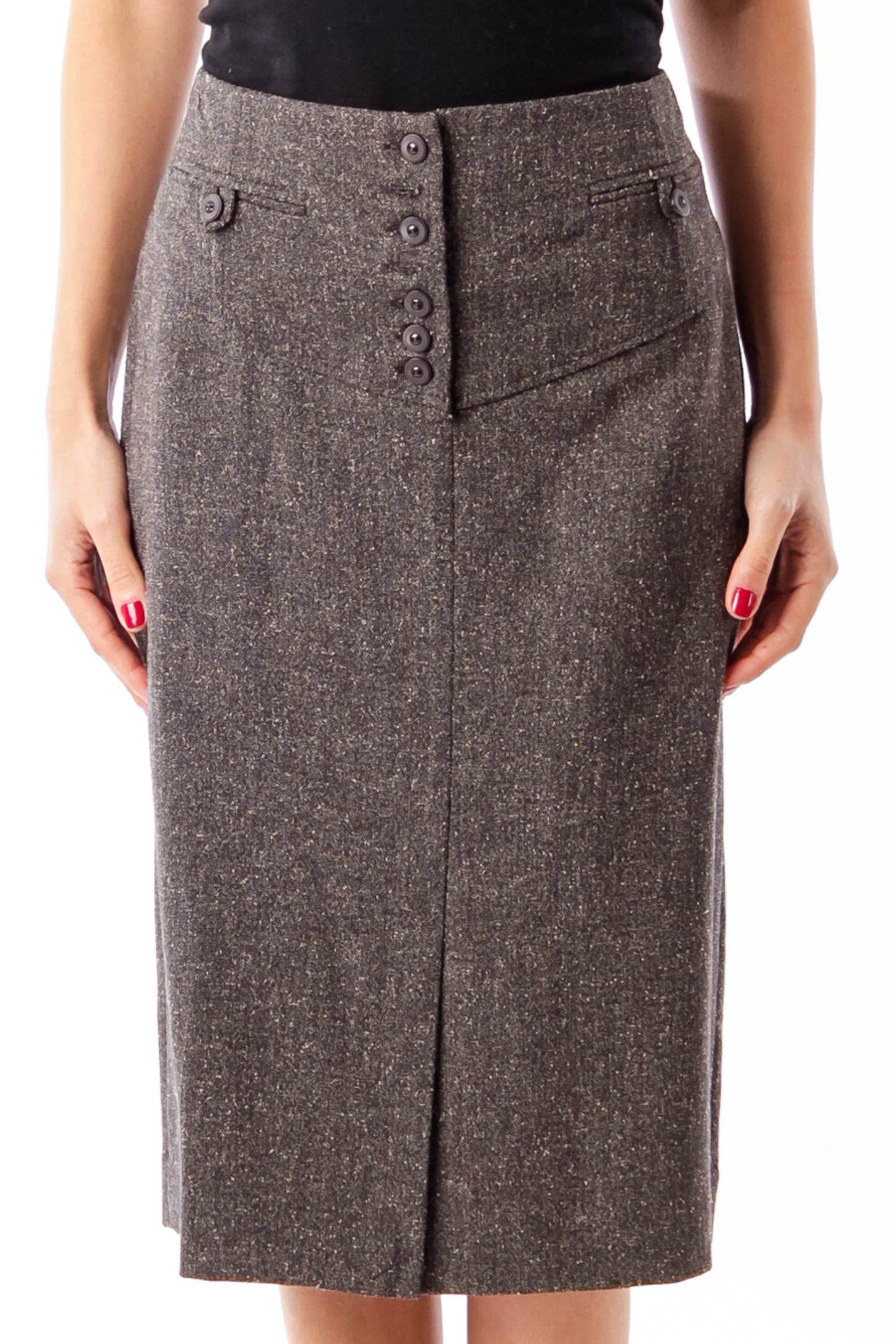 Brown Tweed Pencil Skirt
