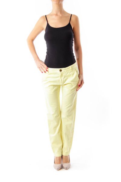 Yellow Cropped Jeans